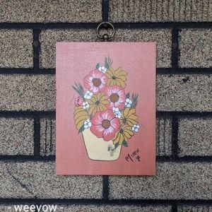 Vintage Hand Painted Flower Painting on Wood MCM